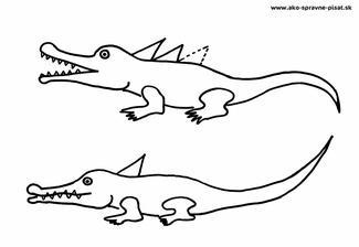 Krokodíly - Dokresli krokodílom ostré šupiny na chrbte podľa predlohy.