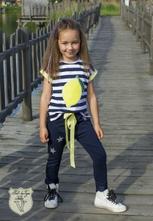 Dievčenské tričko s aplikáciou 320 lemon, 98 / 104 / 110 / 116
