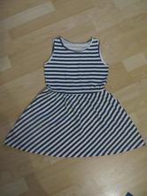 Dievčenské pruhované šaty bielo-tmavomodré, palomino,122