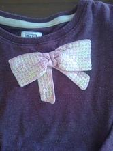 Fialkové tričko s mašličkou trblietavou,vel.2-3r. , f&f,92