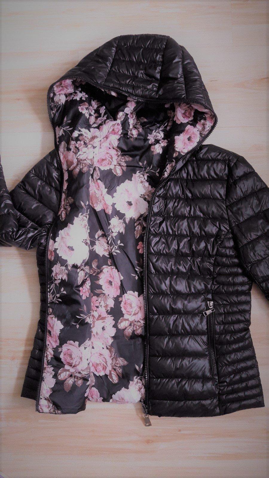8cce9a745e58 Obojstranný kabátik - ružové kvetinky