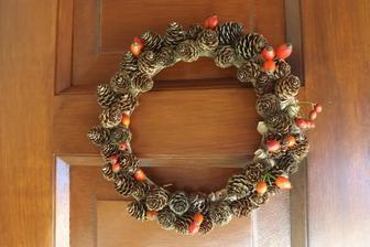 jesenny vencek na dverach...stacil karton a ulovky z lesa - o tie pri nasich drakoch nikdy nie je nudza