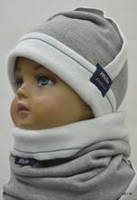 Detský set melm čiapka + nákrčník sivý melír 2f1622ed5d
