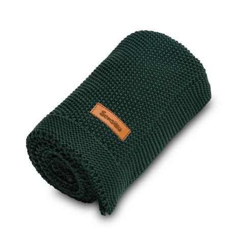 Sensillo bavlnená pletená deka tmavo-zelená 100x80,
