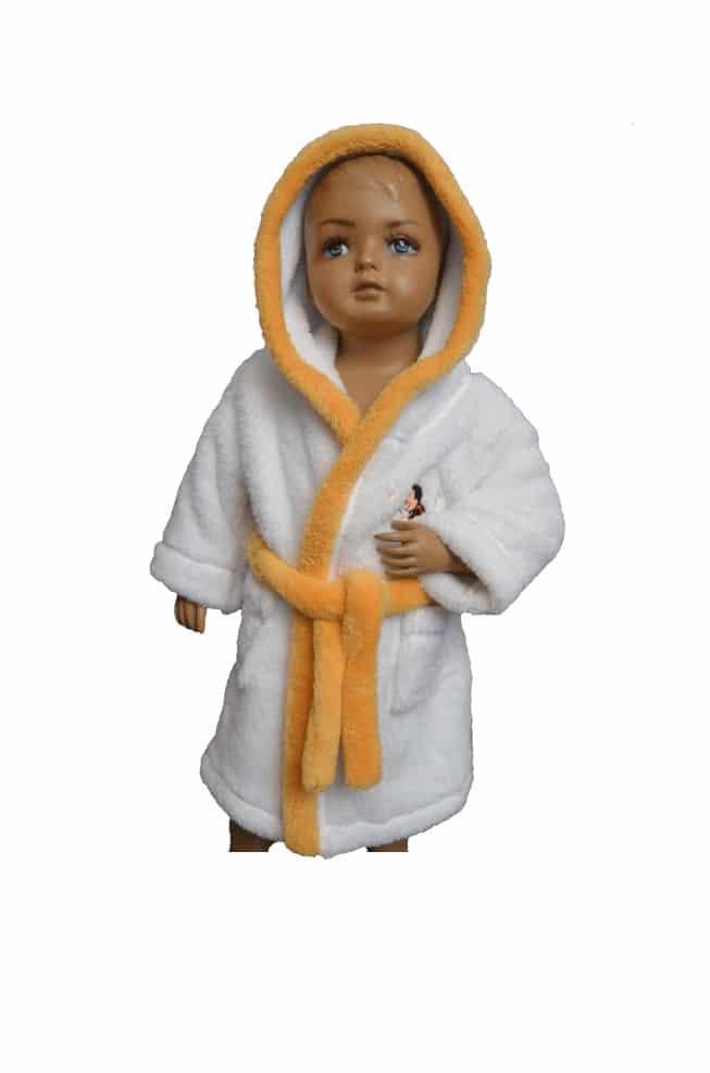526cb64a9e4d Detský župan s kapucňou biely so žltým lemom