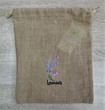 Jutové vrecúško na bylinky levanduľa,