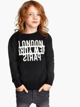 92 čierny sveter - pulóver s bielym nápisom london, h&m,92