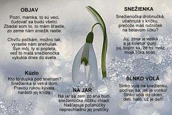 Objav, Kúzlo, Na jar, Snežienka, Slnko volá