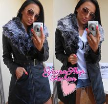 Luxusný dámsky dlhý kabátik eko koža, l / m / s / xl / xxl