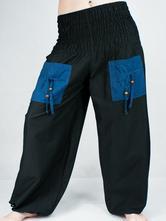 1065c25a4035 Turecké nohavice aladinky haremky čierno-modré