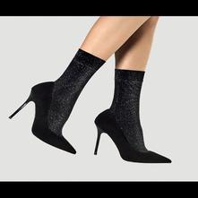 Vzorované ponožky - čierne - 40 den skladom, 34 - s