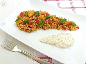 1r.+ Pečené papriky s kuskusem a okurkovo-mrkvové tzatziky