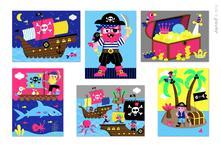 Kubkid piráti kartónové kocky s obrázkami,