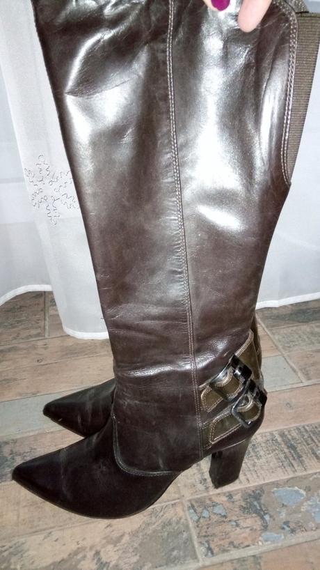 Hnedé kožené čižmy b1c416e616e
