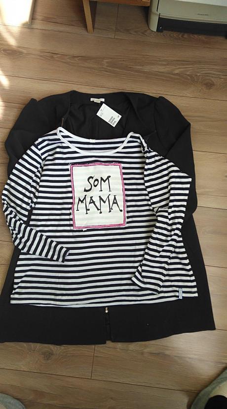 Elegantný kabát tehotenský s visačkou a tričko mam bec0557f71a