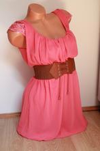 Korálové šaty s čipkou tiffany, l