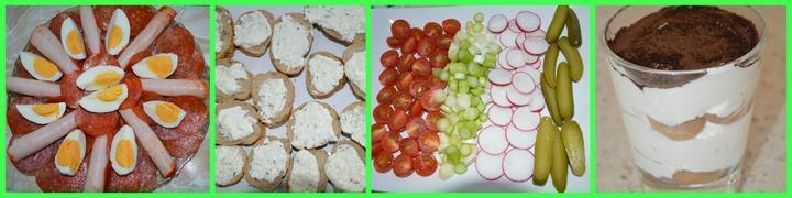 Bagetky so syrovo-cesnakovou nátierkou+zelenina,tiramisu.
