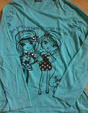 Tyrkysové tričko s potlačou, m