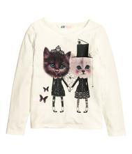 110/116 tričko s mačičkami, h&m,110 / 116