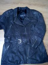 Dámsky kožený kabát v čiernej farbe -k-cero, 44