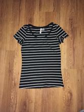 Čiernobiele tričko s pasikmi, h&m,xs