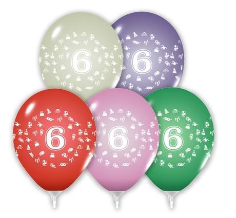 Balón 30 cm s číslom 6,