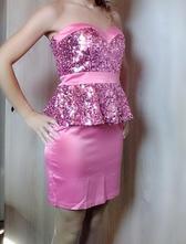 Ružové šaty 1x oblečené 40, 40