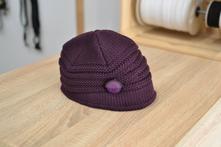 Pletená fialová čiapka, l
