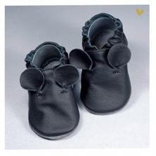Kožené barefoot capačky čierne ušká, 17 - 24