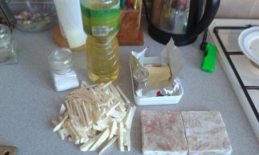 19.den - obed. Zelerove hranolky, treska /file/ na masle