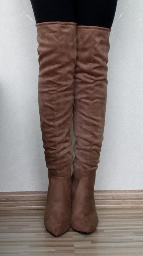 Dámske hnedé čižmy nad koleno na vysokom opätku 1b72f8a081e
