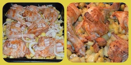 Pečené kuracie stehná,nové zemiaky,cesnak,cibuľa,grilovacie korenie. /Foto pred pečením a po upečení/