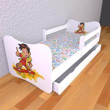 Detská posteľ 180cm x 80cm skateboardista, 80,180