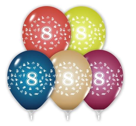 Balón 30 cm s číslom 8,