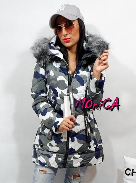 876d2ccad80a Dámska zimná maskáčová bunda s kožušinou