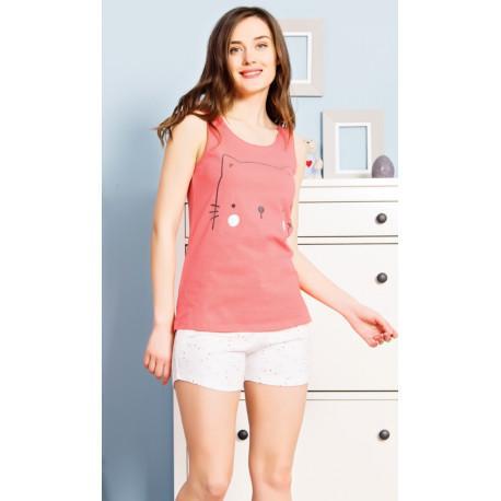 fe8e7ff2504b Dámske bavlnené pyžamo šortky mačiatko.