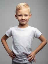 Detské biele bavlnené tričko krátky rukáv, 92 - 134