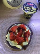 Coko proteinova palacinka s pudingom a melónom