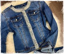 4163bf7730cc Dámska džínsová bunda s perličkami
