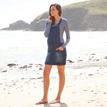 Riflové tehotenské šaty na traky, l / m / s / xl / xs