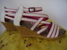 Platformové sandálky bielo-ružové v.38-39, 38 / 39