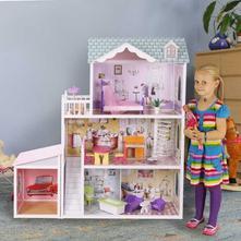 Drevený domček pre bábiky s garážou  bb964a3c32