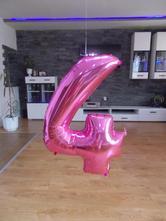 Fóliový balón ružový  - čísla 0,1,2,3,4,5,6,7,8,9 ,