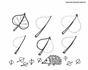 Listy - Dokresli listy v smere šípky podľa predlohy.