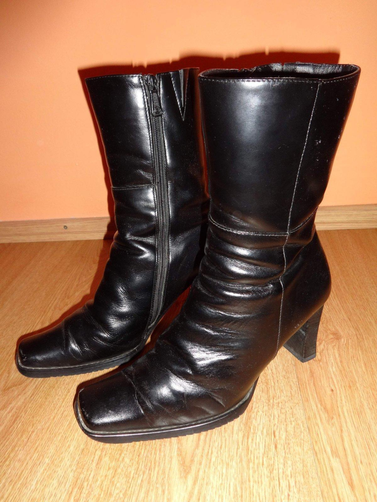 Čierne kožené dámske zimné čižmy hölmann a77708355c9