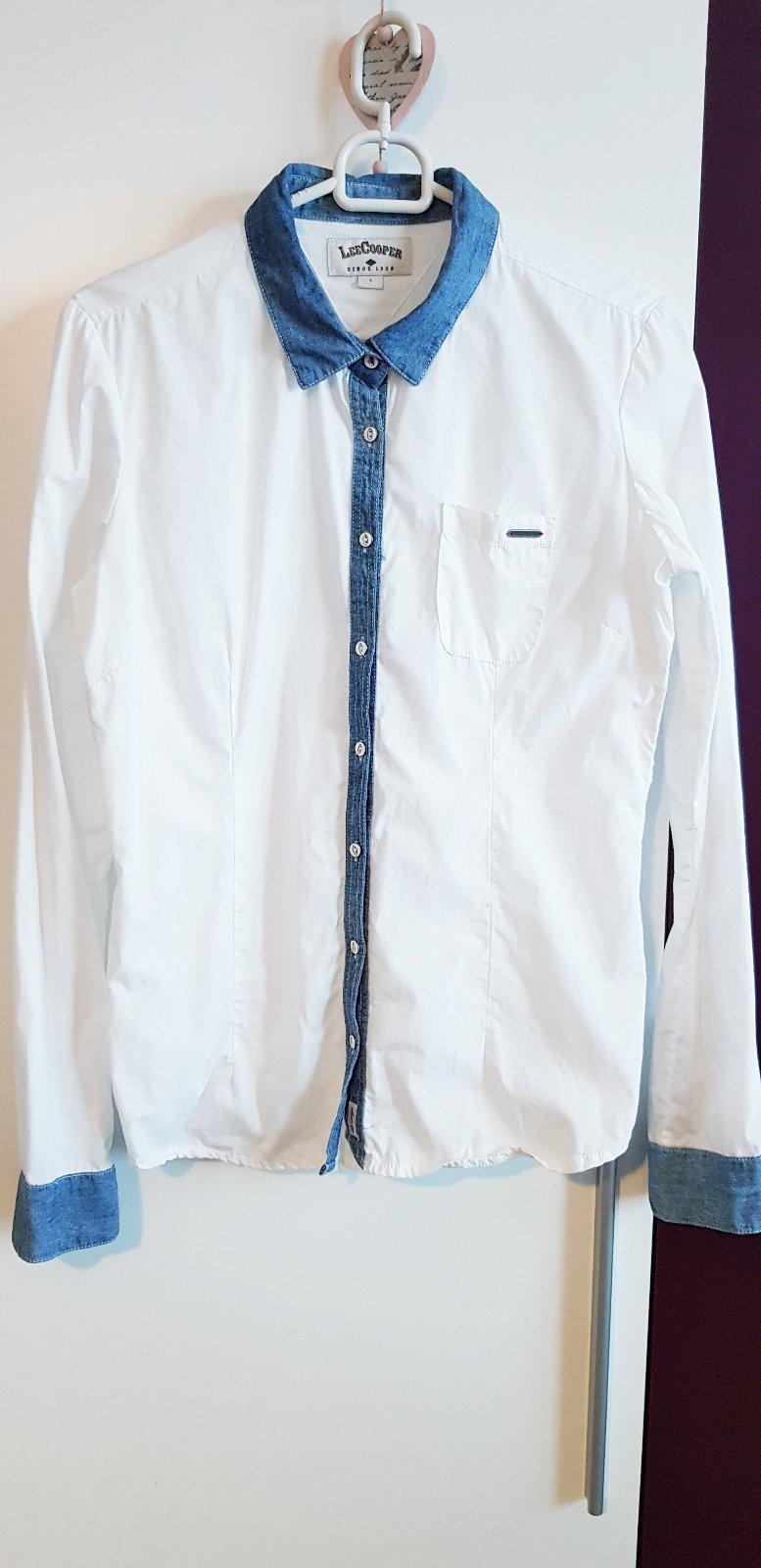 bdfb4e65846b Biela dámska košeľa s rifľovým golierom - leecoope